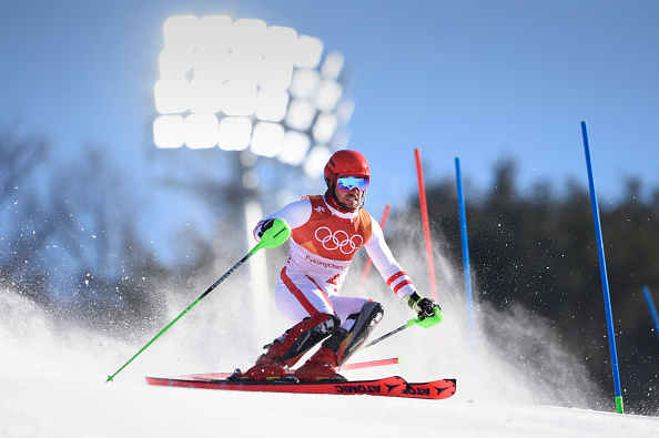 The wind, the swirling snow, the pressure -- none of it stopped Marcel Hirscher on the way to gold in the men's alpine combined // Getty Images