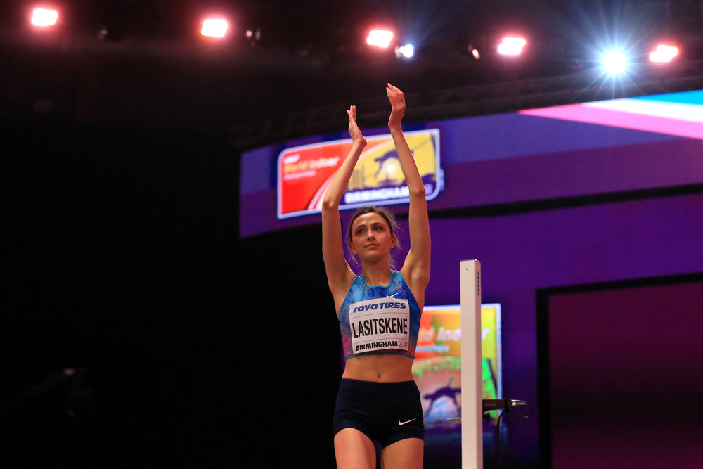 'Authorized Neutral Athlete' Mariya Lasitskene after winning Thursday's women's high jump aat the world indoor track and field championships // Stephen Pond/Getty Images for IAAF