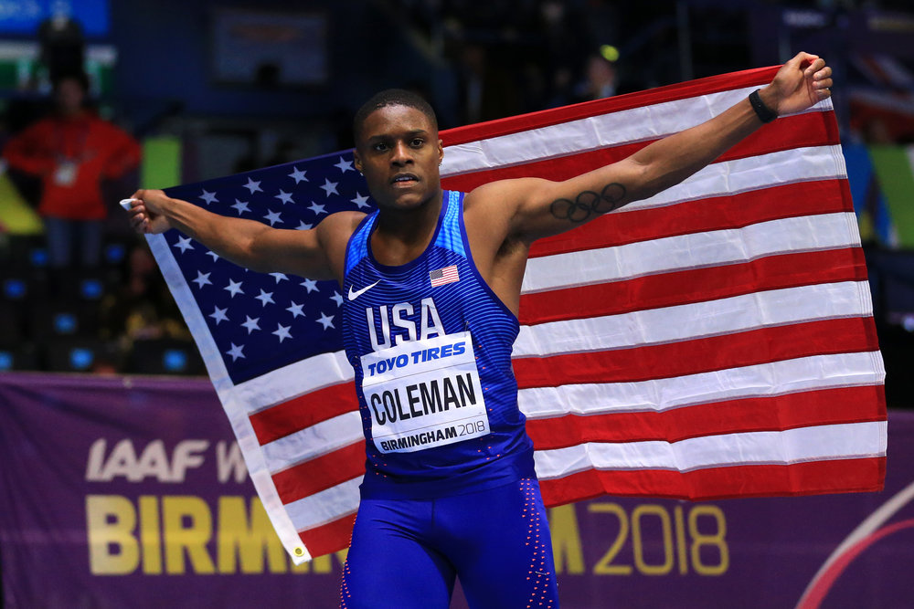Christian Coleman after winning the 60-meter world indoor championship // Stephen Pond/Getty Images for IAAF
