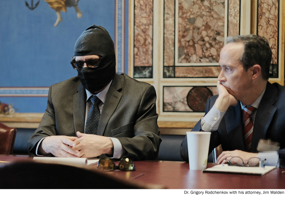 Grigory Rodchenkov, in ski mask, with lawyer Jim Walden // Helsinki Commission