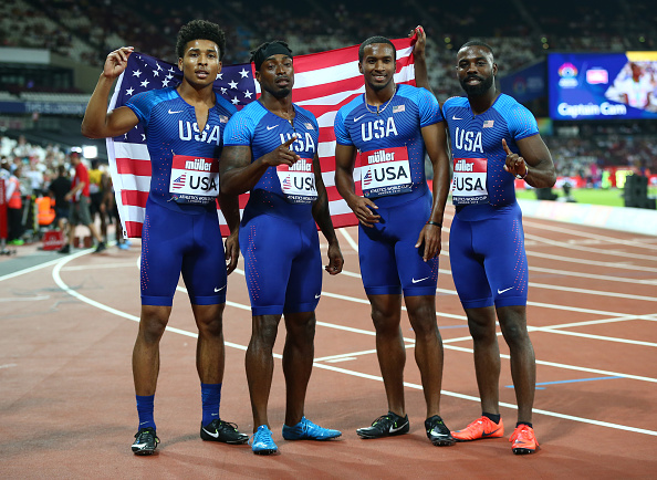 The winning American 4x1 relay team // Getty Images