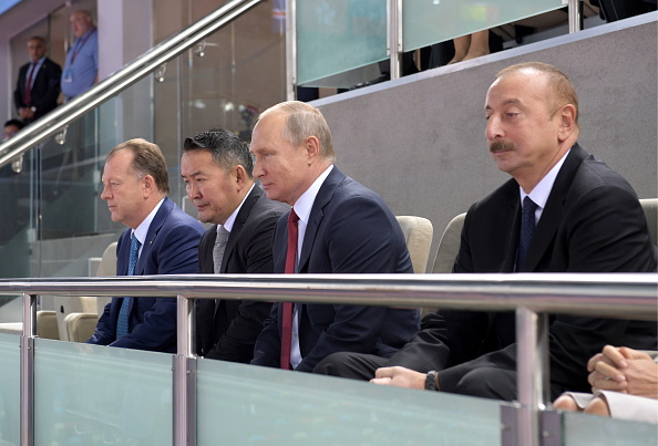 At Thursday's teams competition, from left: IJF president Marius Vizer; :Mongolian president Khaltmaa Battulga; Russian president Vladimir Putin; Azerbaijan president Ilham Aliyev // Getty Images