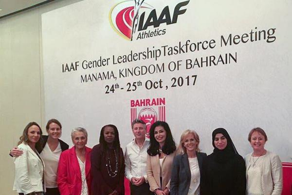 The IAAF gender leadership task force meeting, chaired by Hightower, fourth from left, standing in the photo next to Coe — photo courtesy IAAF