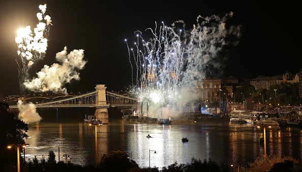 Along the Danube during the 2017 FINA opening ceremony // Getty Images