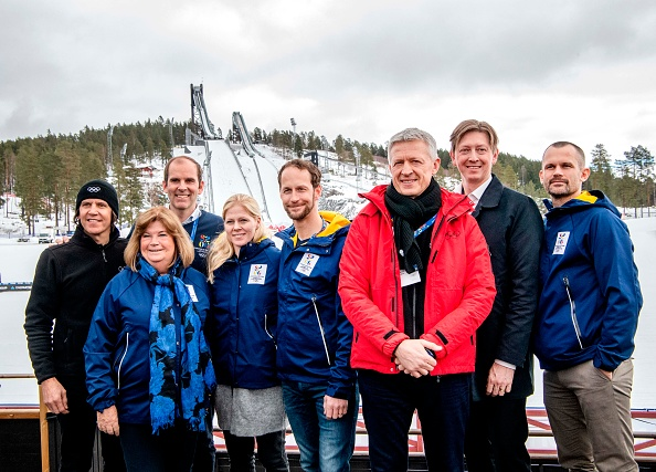 Left to right, amid IOC evaluation commission visit Thursday to Sweden: IOC Games Director Christophe Dubi, IOC member from Sweden Gunilla Lindberg, CEO of Stockholm 2026 Richard Brisius, former Swedish Alpine skier Jessica Lindell Vikarby, former Swedish cross country skier Anders Sodergren, commission chair Octavian Morariu, municipal commissioner of Falun Joakim Storck, former Swedish high jumper Stefan Holm // photo Ulf Palm / AFP / Getty Images