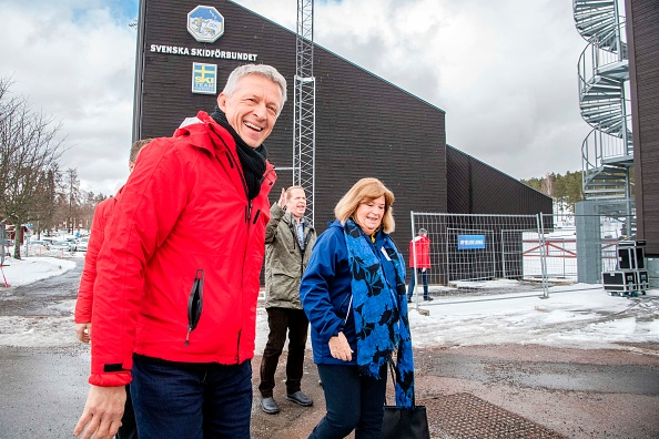 IOC 2026 evaluation chair Octavian Morariu, left, with senior IOC member Gunilla Lindberg of Sweden, right, in Falun, Sweden, on the IOC tour last month // photo Ulf Palm / AFP // Getty Images