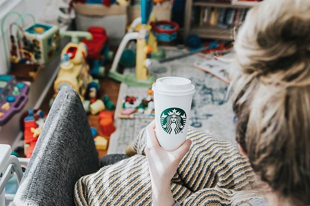 IRL coffee photography. Toys everywhere. Warm blanket. Mom bun 4 dayz.