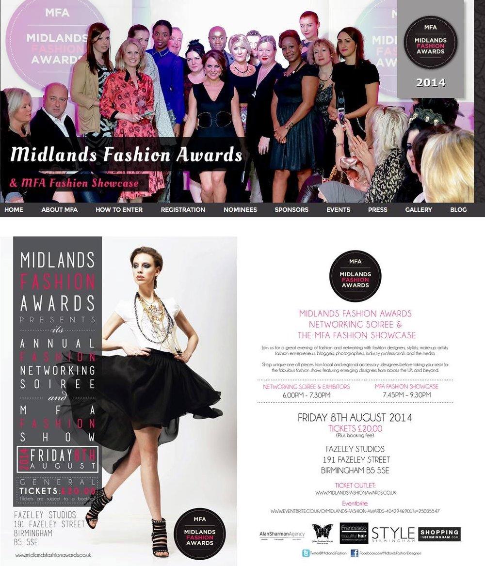 On stage at thr Midlands Fashion Awards, Birmingham 2014