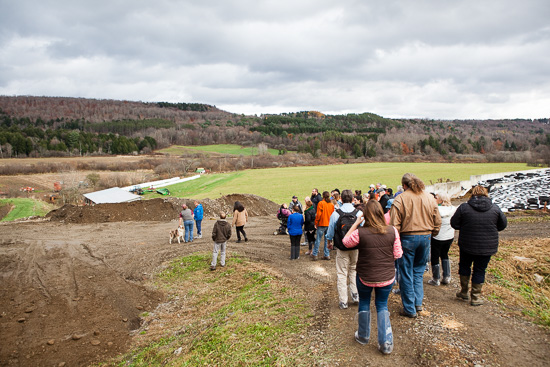 Attendees of the Upper Susquehanna Watershed Forum, including representatives of local watershed groups, tour Silver Spoon Dairy Farm and their BMP initiatives in Garrattsville, New York, following the conclusion of the forum sessions.