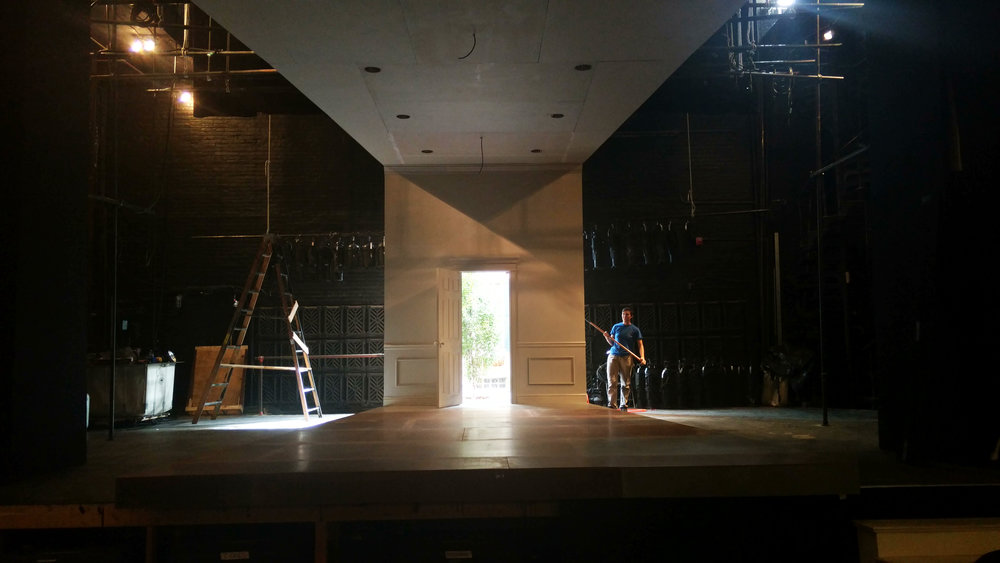 Buyer & Cellar under construction at Plays & Players Theatre. Photo by Ben Levan.