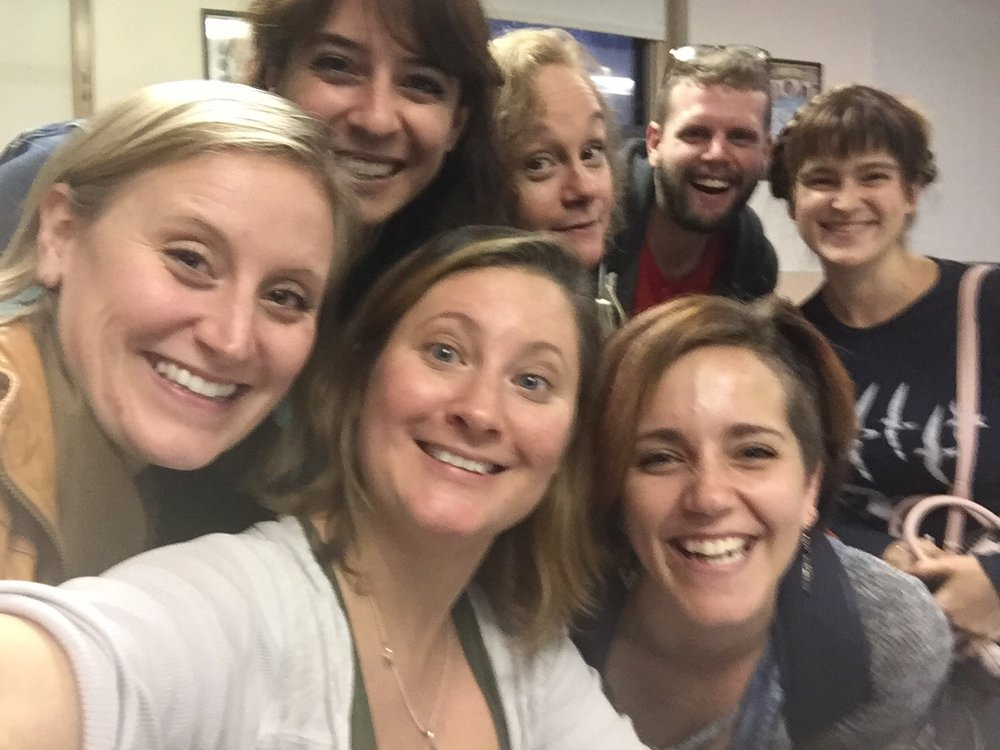The awesome art-makers of the Tyndale Place workshop. (L-R) Emily Kleimo, Michaela Shuchman, Monica Stephenson, Jennifer Childs, TJ Harris, Rachel Camp, Laurel Hostak.