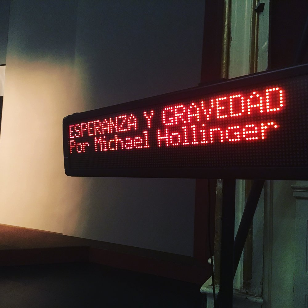 Captioning sign at the Spanish-translated performance of  Hope and Gravity , May 9, 2018.