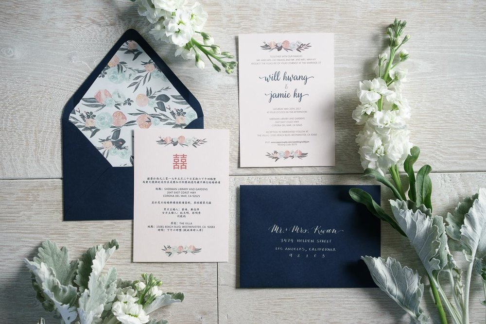 navy and blush wedding invitations rae lily