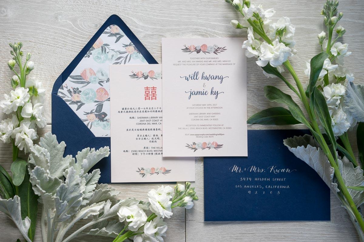 Navy and Blush Wedding Invitations | rae + lily