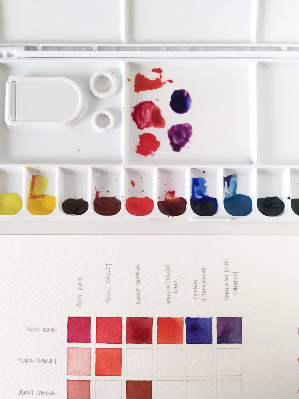 5 types of watercolor charts type 4 color mixing chart rae lily 5 pre made puddles make mixing up each color in the row more convenient nvjuhfo Choice Image