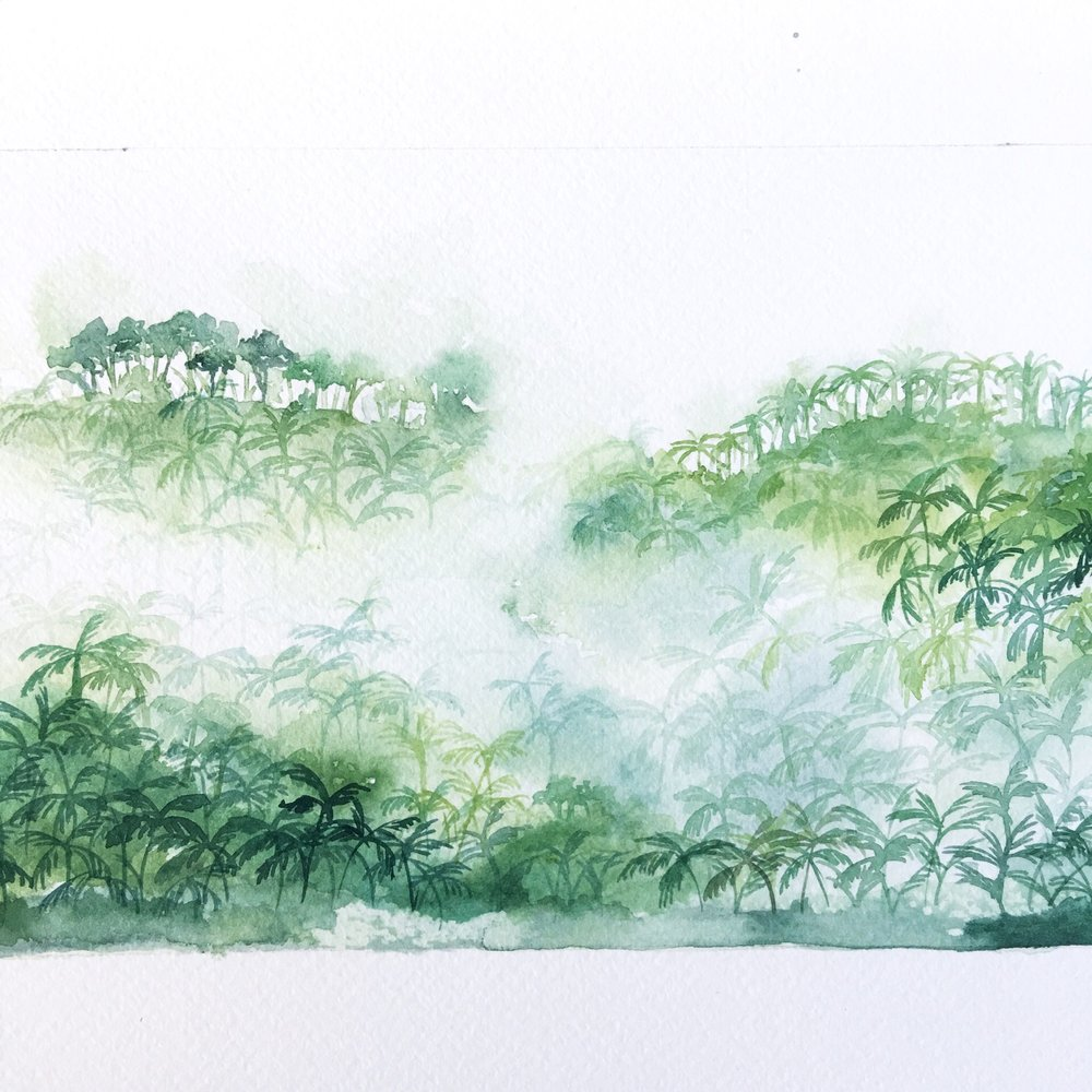 Misty Watercolor Jungle
