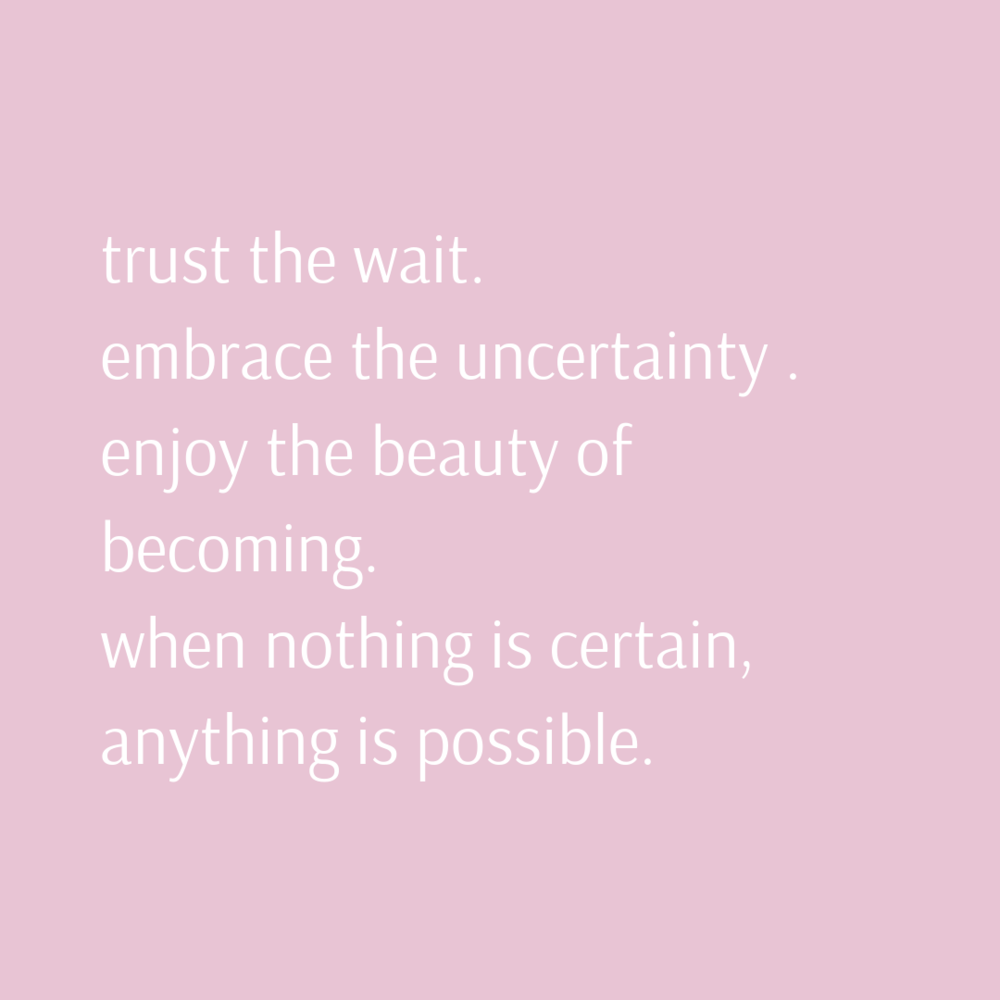 trust the wait. embrace the uncertainty . enjoy the beauty of becoming. when nothing is certain, anything is possible..png