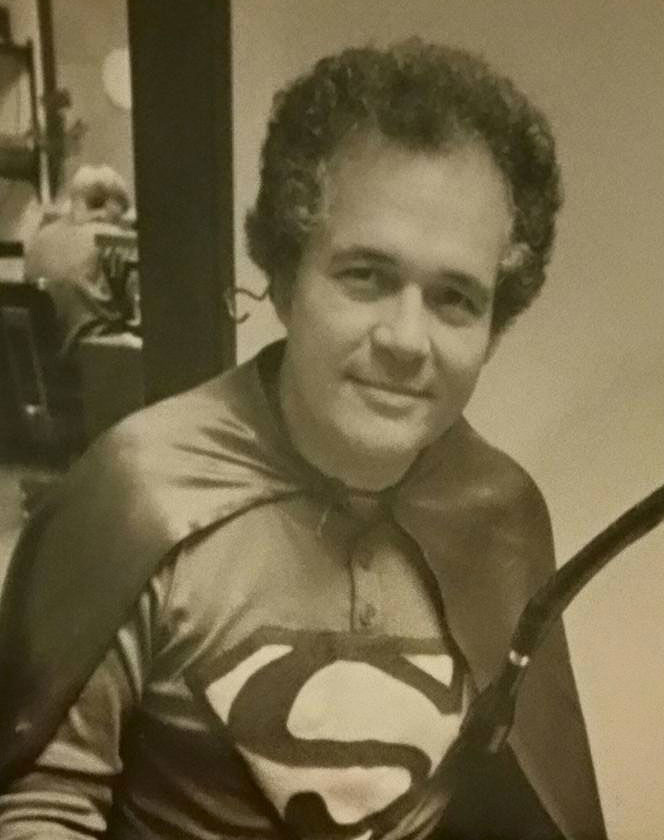 Dr. James Criscione black and white dressed as superman