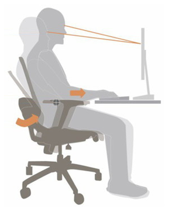 Viewing angle shifts only slightly when reclined, promoting natural movement and comfortable working in a variety of postures.  Arm pad slides forward while in recline, but does not interfere with the desk.  The seat slides forward while the upper body leans back, keeping you close to your work even when you recline.