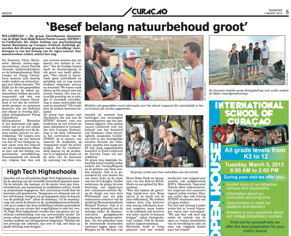 An article in a Curaçao newspaper about the High Tech High project I helped lead learning and documenting coral reef conservation issues with the island as a case study and documentary subject.