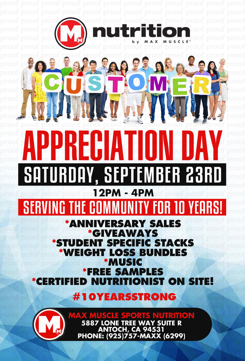 10 Years Strong! - It's been an honor to serve this community for 10 years! Come by 5887 Lone Tree Way in Antioch for our customer appreciation day on Saturday, September 23rd. We kick things off at 12 PM with music, sales, giveaways, and our certified nutritionists will be on site.Hope to see you there!