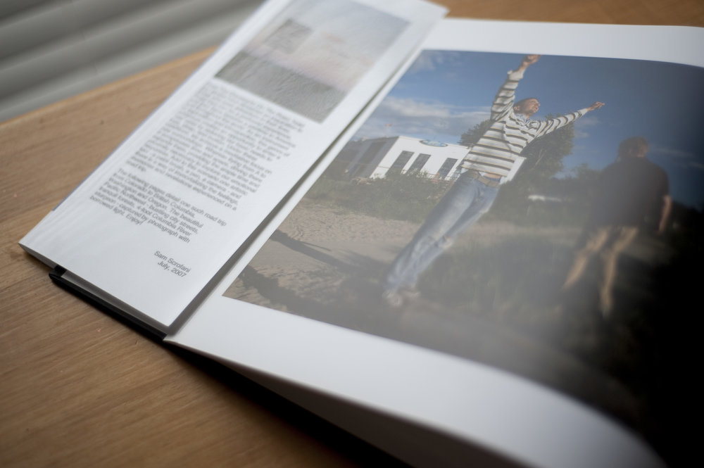 Example coffee-table-style photo book of a road trip to Vancouver, Canada