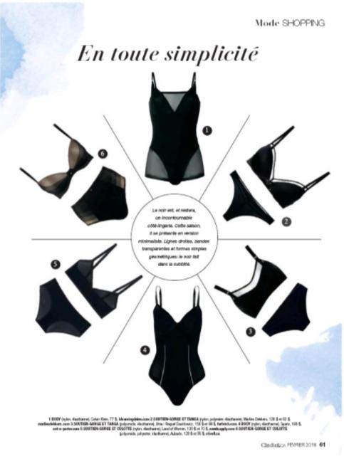 aubade - De jolis dessous de la marque française Aubade dans le magazine Clin d'oeil de février 2018.Client: Stivell Diffusion