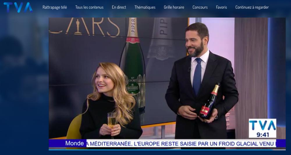 Service de champagne Piper-Heidsieck à l'actrice Sarah Jeanne Labrosse à TVA