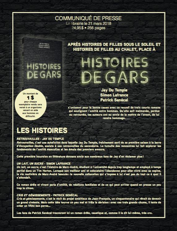 Histoires de Gars, En librairie le 21 mars 2018, publié aux Éditions Goélette