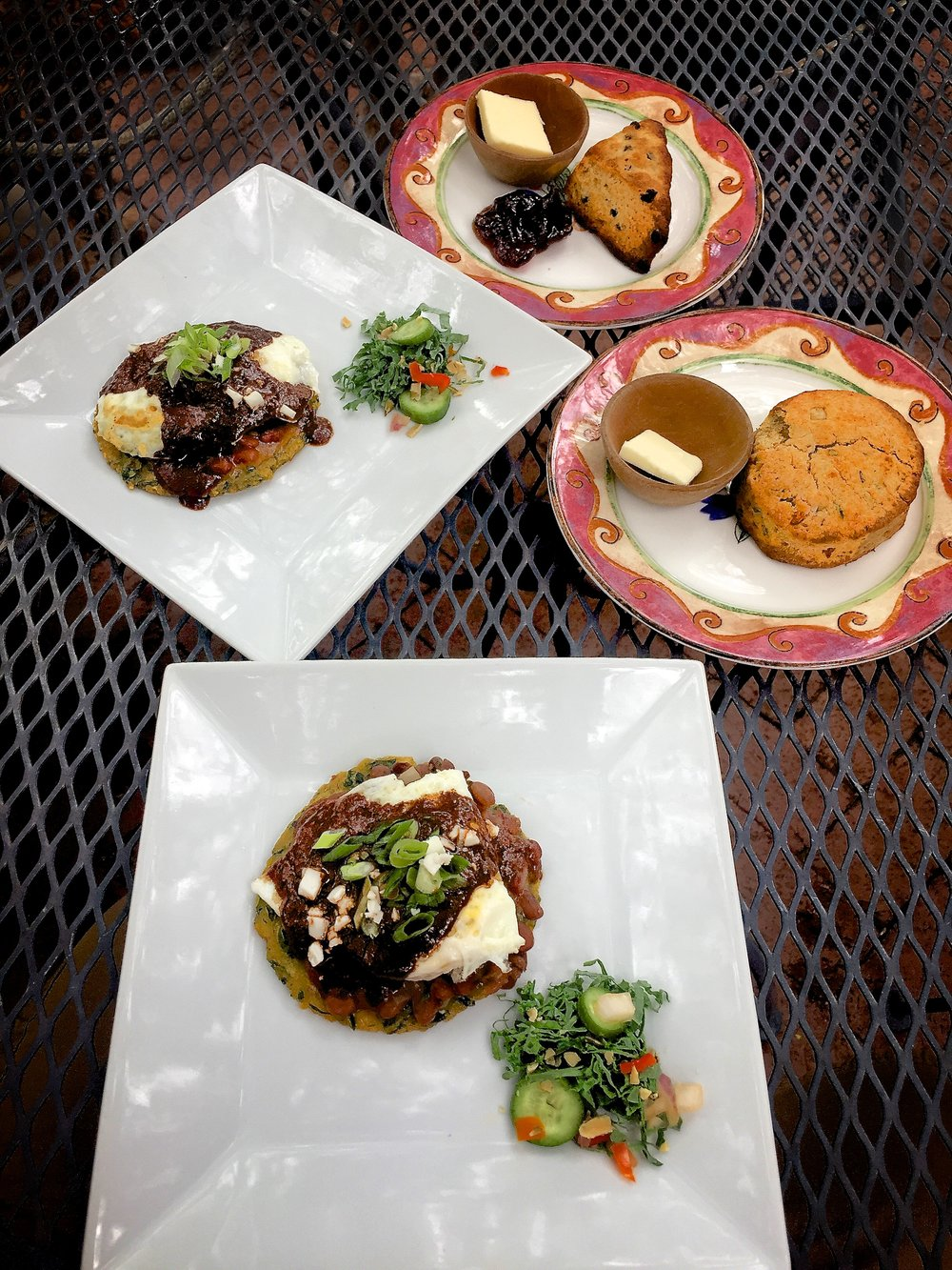 Huevos Rancheros, scones, and biscuits made for one delicious breakfast at Cafe Botanica.