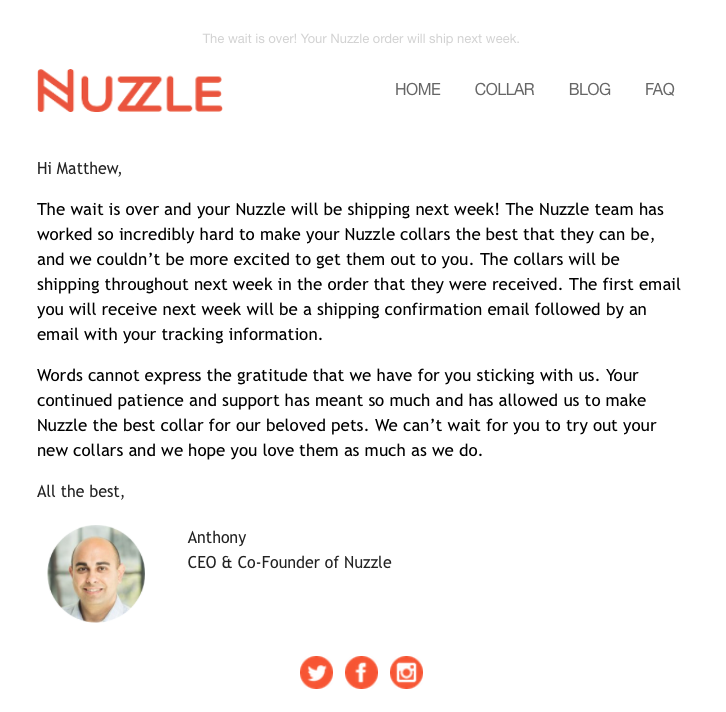 Email from Nuzzle notifying us that our GPS collar would be shipping soon.