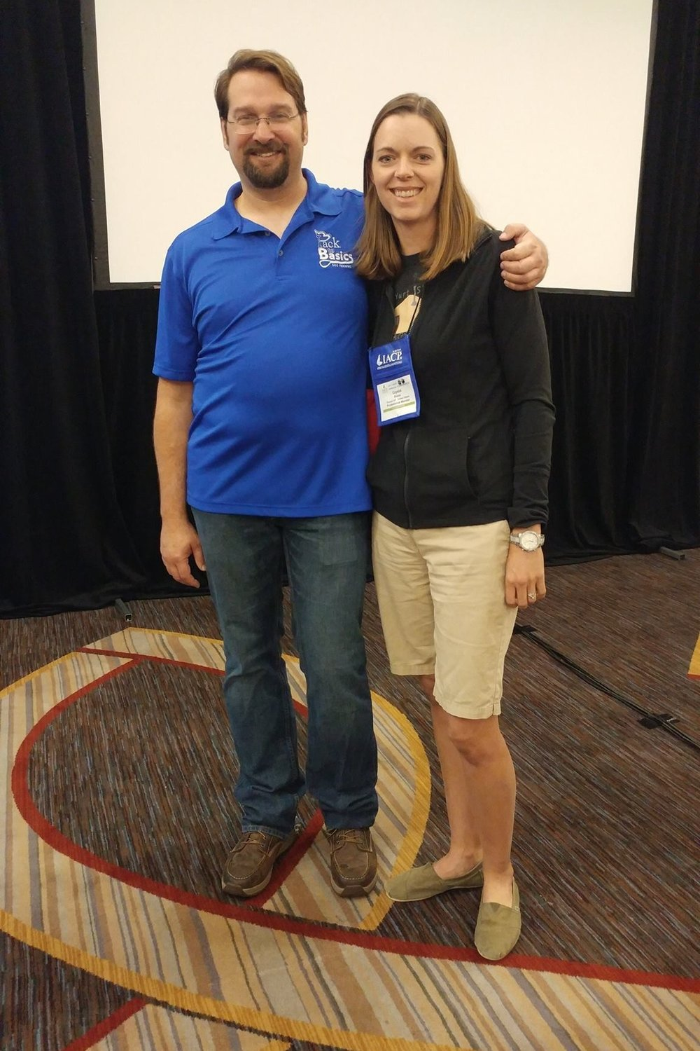 Crystal Blaker from Ruff House Dog Training & Behavior Modification meeting Chad Mackin at the 2017 IACP Conference in St. Louis.