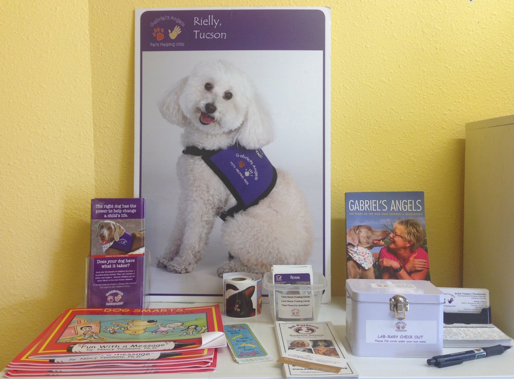 Display featuring resources for PetPartners and Gabriel's Angels at A Loyal Companion.
