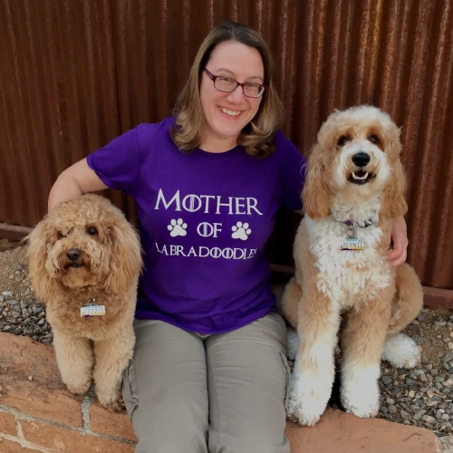 Lizzie and Bernie were excited to give me my 2018 Mother's Day gift: a Mother of Labradoodles t-shirt.