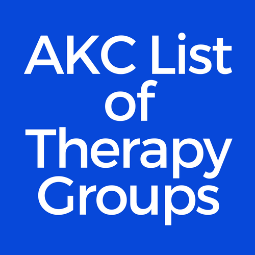 Graphic for the comprehensive list of therapy dog groups provided by the American Kennel Club