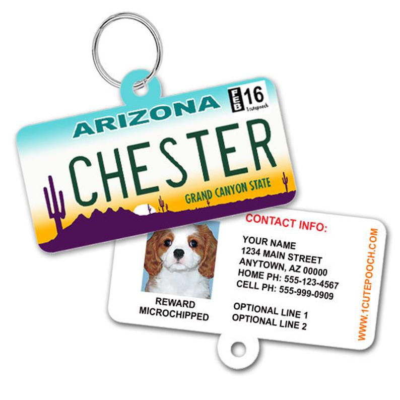 Arizona License Plate Pet ID tag from 1 Cute Pooch