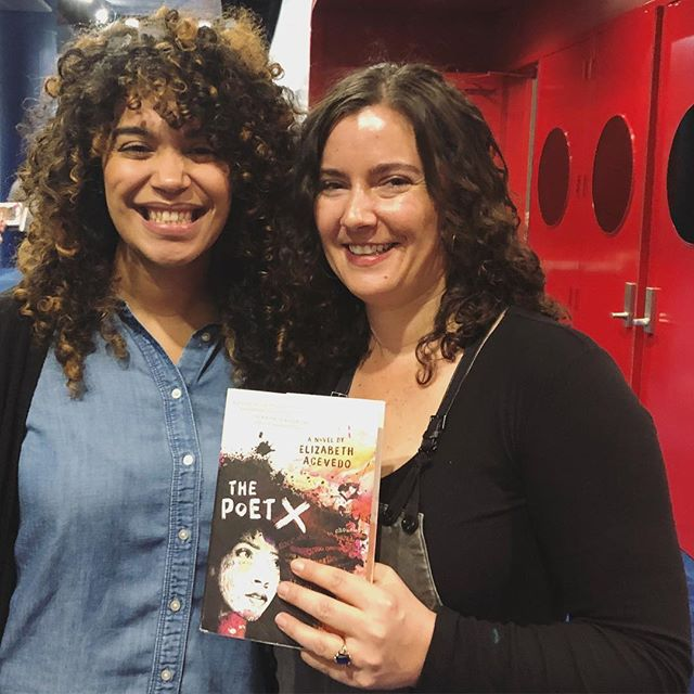 Had so much fun talking with the brilliant @acevedowrites on our #ALAN panel this morning. I 💜 The Poet X.