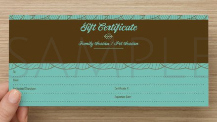 Family Portrait and Pet Portrait gift certificates for Chris McOmber Photography