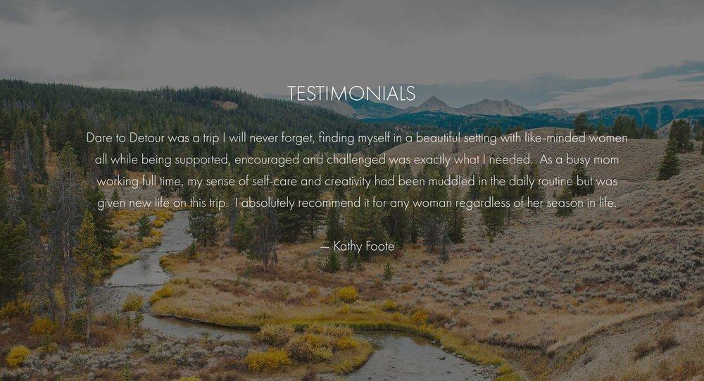 Dare To Detour Kathy Testimonial