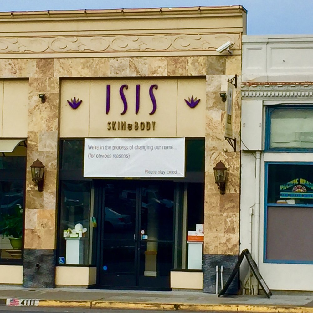"Finding the right name for your business is difficult, let alone having to adapt to world events. A spa down the street from where I lived in Oakland, California, decided to change its name in 2015 for what the banner describes as ""obvious reasons."""