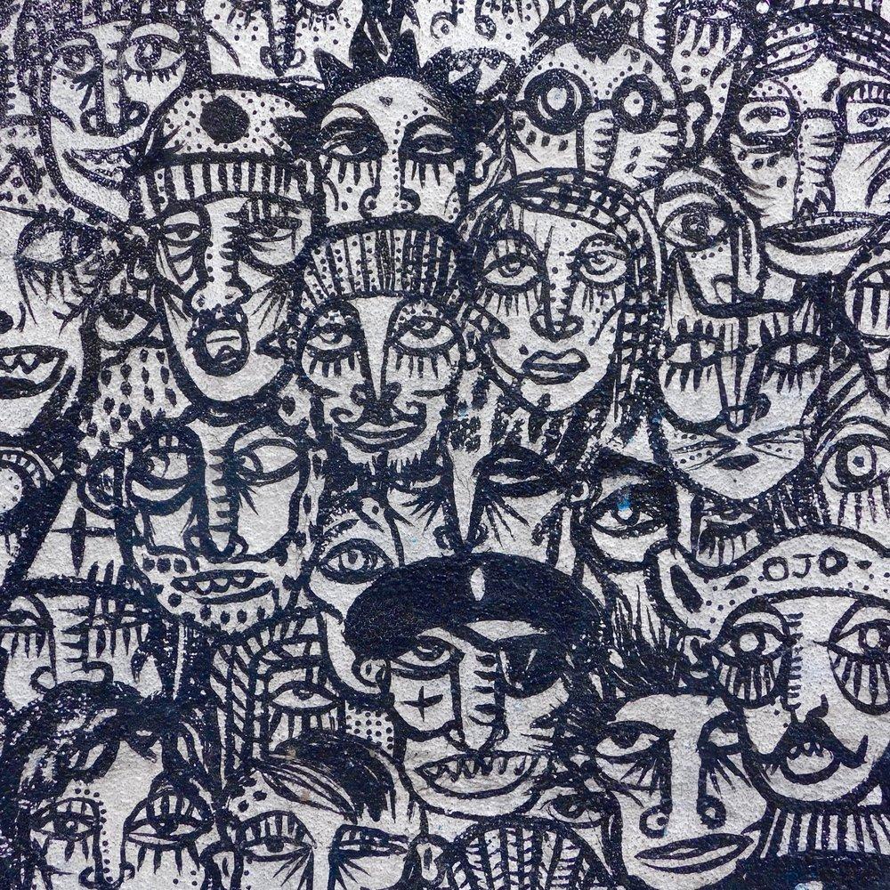 Detail of Street Art in Raval, Barcelona, Spain