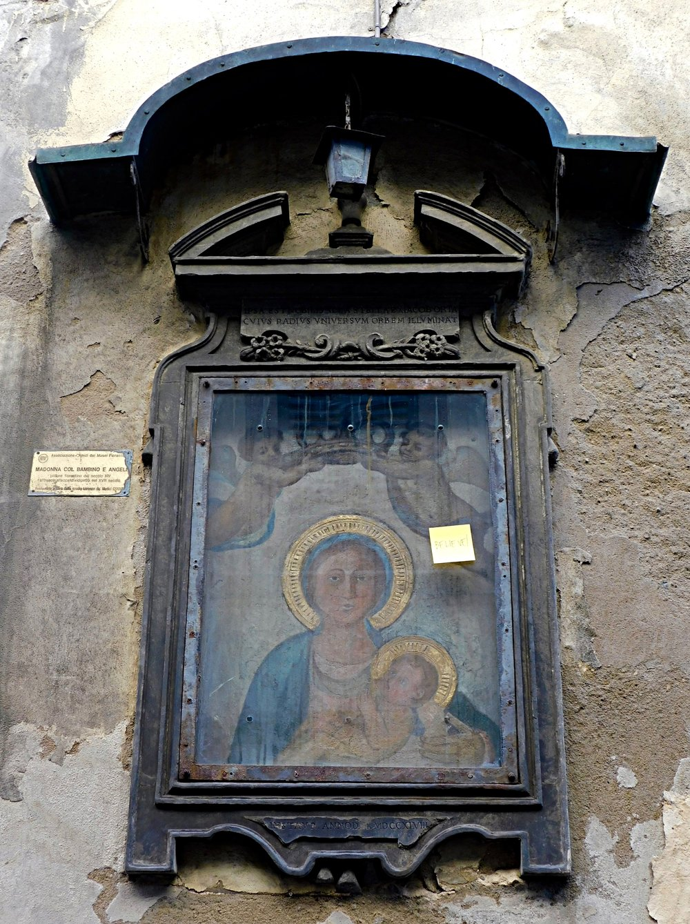 """Angels, Madonna, Child, and Post-it Note, Florence, Italy. If you can't make it out, the note says """"Believe!"""""""