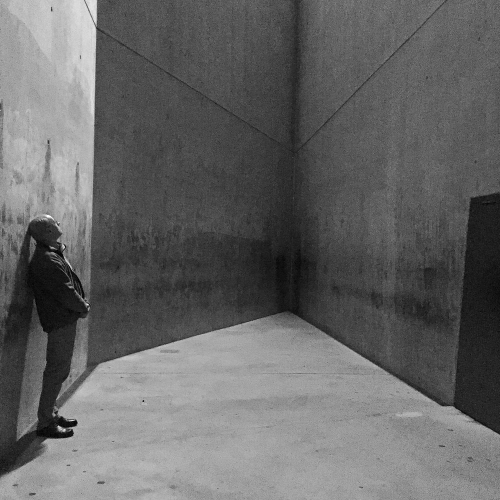 A fellow visitor reflecting in the Voided Void or Holocaust Tower at the Judischer Museum in Berlin.