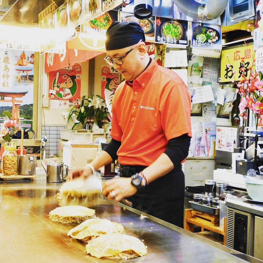 Okonomiyaki Chef in Hiroshima, Japan