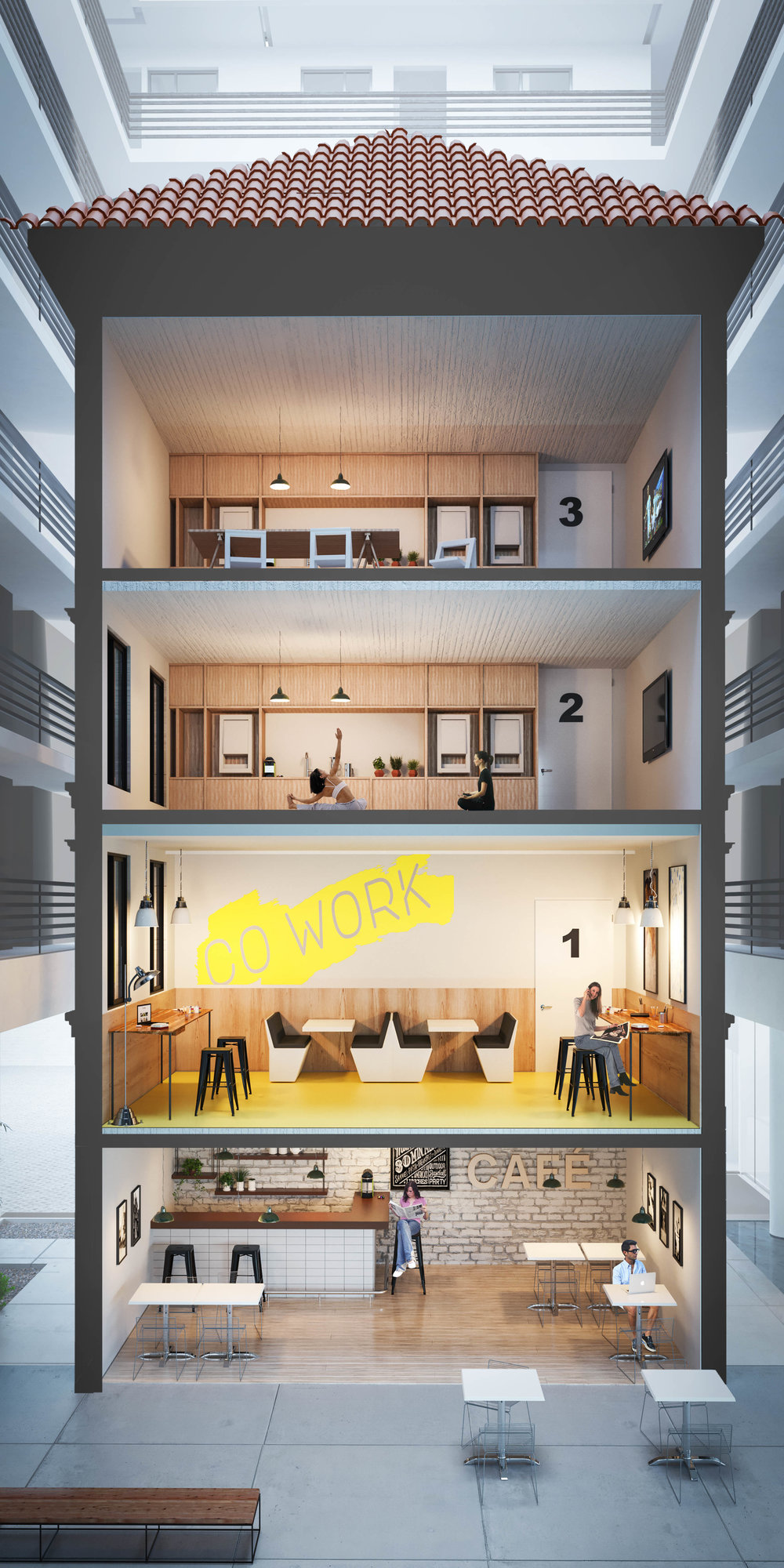 Recycled buildinig to Coliving spaces