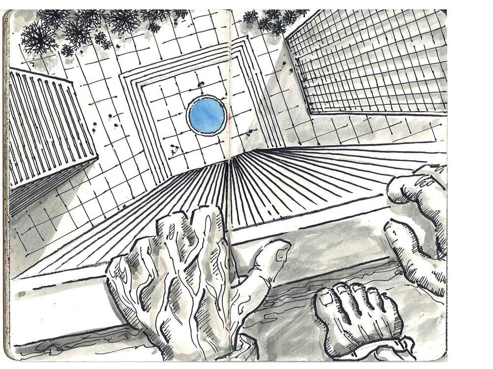 Spread from  Danger Danger  – The Sketchbook Project 2010. Pen sketch by Gary Perrone.
