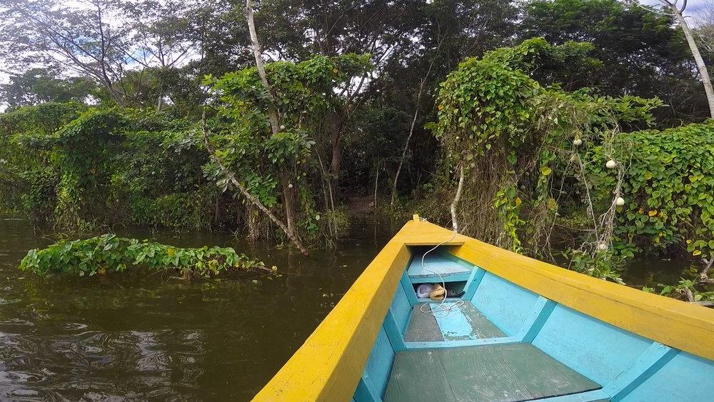 Lancha approaching the island of Topoxte in Laguna Yaxhá.
