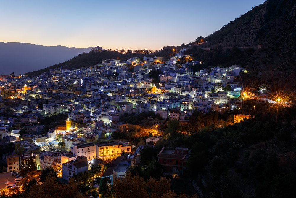 Chefchaouen, the blue city, by night.