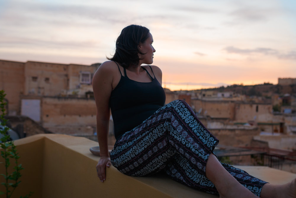 On the roof terrace of Fes.  Image by Sarah Armstrong.