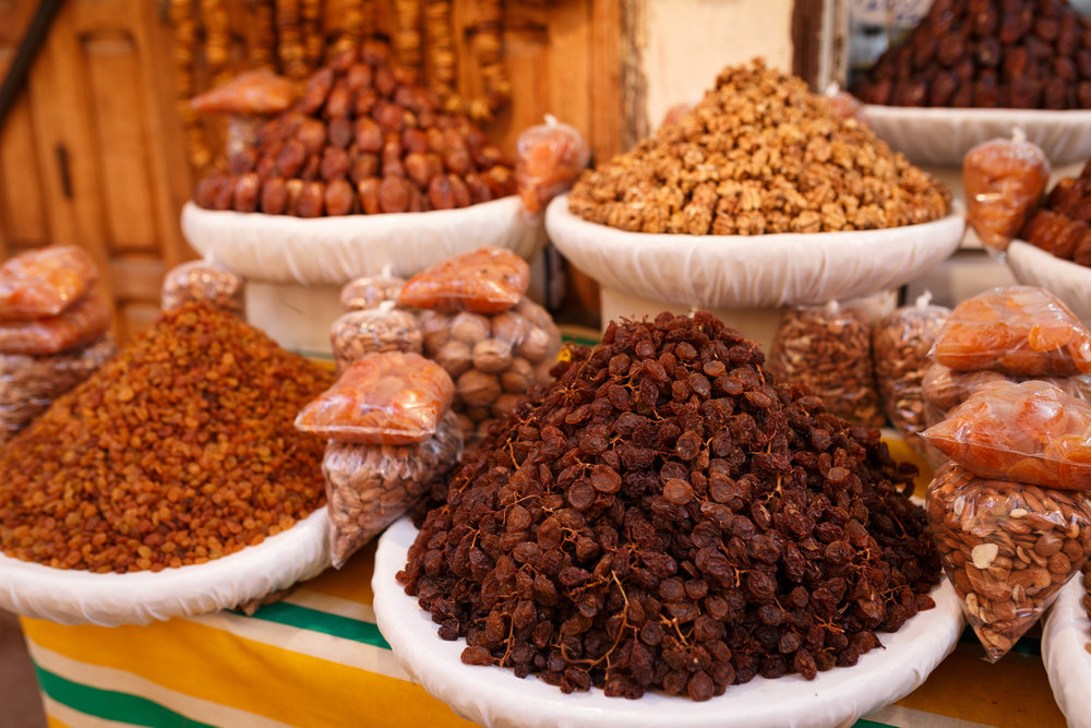 Dried nuts and fruit for sale in the medina of Fes.